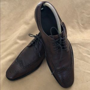 Hugo Boss Brown Leather Winged Tip Oxfords Size 8